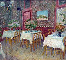 'Interior of a Restaurant' by Vincent Van Gogh (Reproduction) by Roz Abellera Art