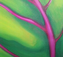 TROPICAL PALM LEAF ~ ABSTRACTED ~ OIL ON CANVAS by LacewingDesign