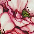 PINK PEONY ROSE ~ WATERCOLOUR ON CANVAS by LacewingDesign