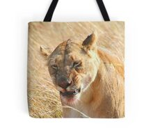 Lion at a Wildebeest Kill, Maasai Mara, Kenya  Tote Bag