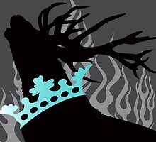 Game of Thrones Baratheon Silver & Aqua Crowned Stag by DragonroseWorks