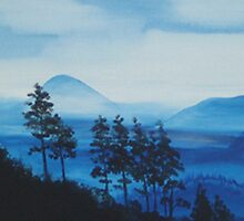 MOONLIGHT AND MOUNTAINS  ~ ACRYLIC ON CANVAS by LacewingDesign