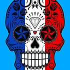 French Flag Sugar Skull with Roses by Jeff Bartels