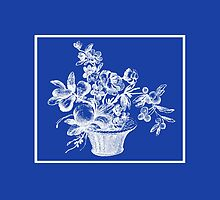 Deep Ocean Blue with White Flower Basket by Greenbaby