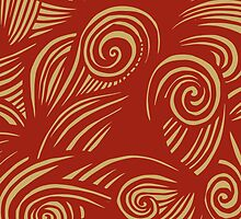 waves (red/gold) by HD Connelly