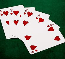 Poker Hands - Straight Flush Hearts Suit by luckypixel