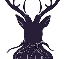 Head of a deer in hand drawn style 5 by AnnArtshock