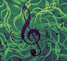 Music floral background by AnnArtshock