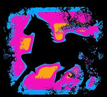 Colorful Prancing High-stepping Horse Silhouette by Val  Brackenridge