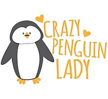 Crazy Penguin Lady  Photographic Print