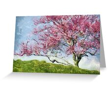 Pink Flowering Tree Greeting Card