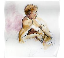 Male nude, portrait in ink and wash Poster