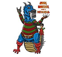 Kenny the Kaiju with podcast logo Photographic Print