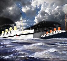 RMS Titanic and her sister the HMHS Britannic by Dennis Melling
