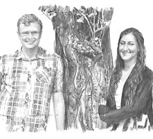Siblings and a tree drawing by Mike Theuer