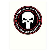 god will judge our enemies we'll arrange the meeting - red Art Print