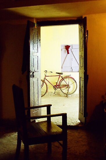 One Chair and a bike in a concrete block in Bihar by UniSoul