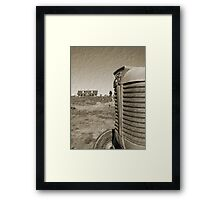 Farm and Tractor Country Scene Sepia Brown Tone Photo Framed Print