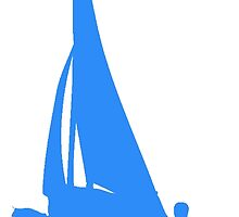 Blue Sail Boat Silhouette by kwg2200