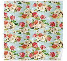 Colorful Vintage Floral Pattern Poster