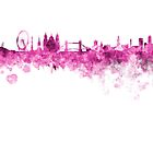 London skyline in pink watercolor on white background by paulrommer