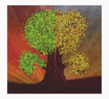 Abstract digital illustration of fantasy tree in autumn and summer season Kids Clothes