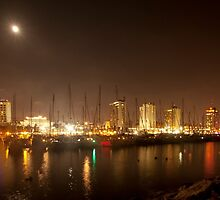Tel Aviv skyline and yacht marina at night by PhotoStock-Isra