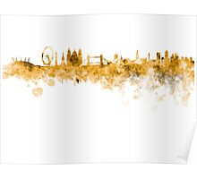 London skyline in orange watercolor on white background Poster