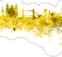 London skyline in yellow watercolor on white background Sticker