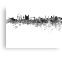 London skyline in black watercolor on white background Canvas Print