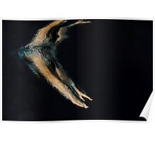 Woman dives into water photographed underwater Poster