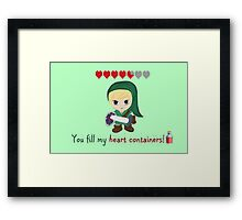 Zelda Valentines: You Fill my Heart Containers Framed Print