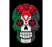 Sugar Skull with Roses and Flag of Palestine Photographic Print