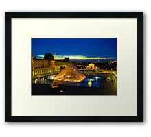 Impressions of Paris - Louvre Pyramid Blue Hour Framed Print