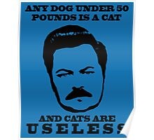 Ron Swanson- Cats are Useless Poster