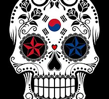 Sugar Skull with Roses and Flag of South Korea by Jeff Bartels