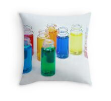 Glass bottles with coloured liquid at a Cosmetics manufacturer Throw Pillow