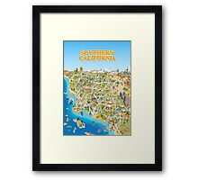 Cartoon Map of Southern California Framed Print