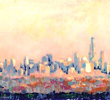 Chicago Abstract Impressionist Skyline  by RDRiccoboni