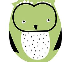 Retro owl green by laurathedrawer