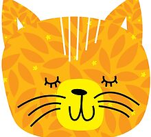 Retro cat face - orange by laurathedrawer