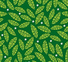 Happy leaves - green by laurathedrawer