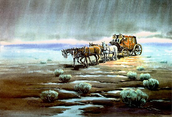 RAINY NIGHT STAGECOACH by SHARON SHARPE by sharonsharpe