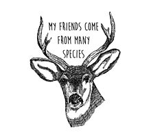 My friends come from many species - Positive Quote + Vintage illustratione  by twisttheprint