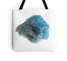 Cutout of a blue apatite gemstone on white background Tote Bag