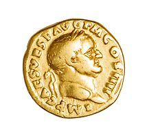 The Emperor and Nike. Roman gold coin  by PhotoStock-Isra