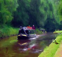 Narrowboat on Shelmore embankment Norbury by Barry Thomas