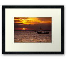 Zanzibar Dhow Sunset Framed Print