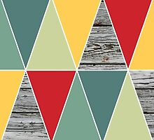 Trendy Red/Green Chevron and Wood Pattern by SnarkySharkS