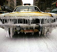 New York Taxi in snow by Daniel Sorine